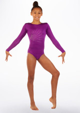 Alegra Girls Firecracker Long Sleeve Leotard Purple front. [Purple]