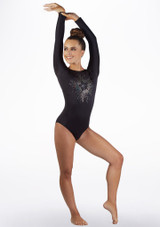 Alegra Girls Starburst Long Sleeve Gymnastics Leotard Black front. [Black]