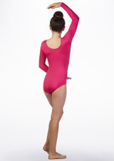 Alegra Girls Starburst Long Sleeve Gymnastics Leotard Pink back. [Pink]