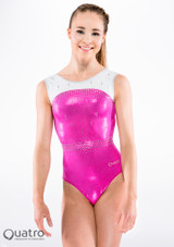 Quatro Diamond Sleeveless Gymnastics Leotard Pink-White front. [Pink-White]