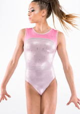 Quatro Diamond Sleeveless Gymnastics Leotard Pink front.