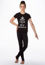 Elite Keep Calm Gymnastics T-Shirt Black front. [Black]