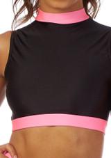Alegra Fuse Girls Long Sleeve Crop Top Black-Pink front. [Black-Pink]