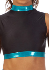 Alegra Fuse Girls Long Sleeve Crop Top Blue front. [Blue]
