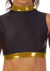 Alegra Fuse Girls Long Sleeve Crop Top Black-Gold front. [Black-Gold]