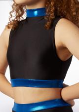 Alegra Fuse Girls Long Sleeve Crop Top Black-Blue front.