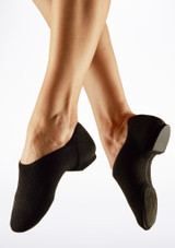 Capezio Pure Knit Split Sole Jazz Shoe Nude Black front.