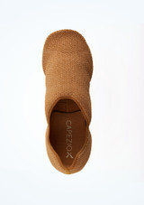 Capezio Pure Knit Split Sole Jazz Shoe Nude Tan top. [Tan]