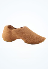 Capezio Pure Knit Split Sole Jazz Shoe Nude Tan main image #2. [Tan]