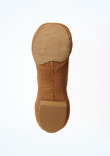 Capezio Pure Knit Split Sole Jazz Shoe Nude Tan sole. [Tan]