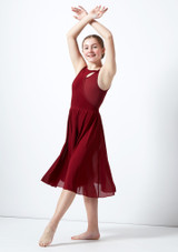 Move Dance Teen Titania Cut Out Lyrical Dress Red front. [Red]