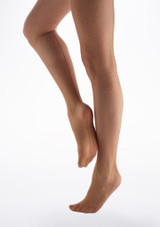 Capezio Studio Basics Fishnet Tights Caramel Brown side. [Brown]