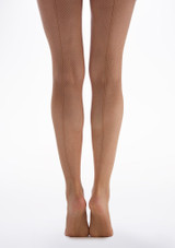 Capezio Studio Basics Fishnet Tights Caramel Brown back. [Brown]