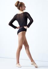 Move Dance Teen Spirit Mesh Long Sleeve Crop Top Black Back-1 [Black]