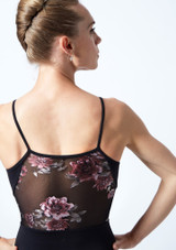 Move Dance Petal Floral Camisole Leotard Black Close up back-1 [Black]