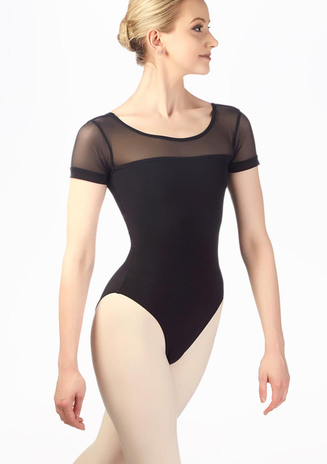Grishko Stretch Mesh Short Sleeve Leotard Black front. [Black]