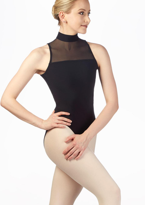 Griskho Stretch Mesh Open Back Leotard Black front. [Black]