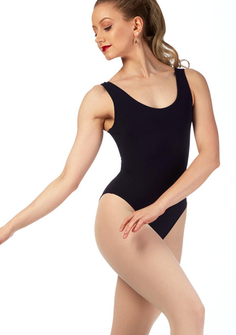 Grishko Soft Stretch Scoop Leotard Black front. [Black]