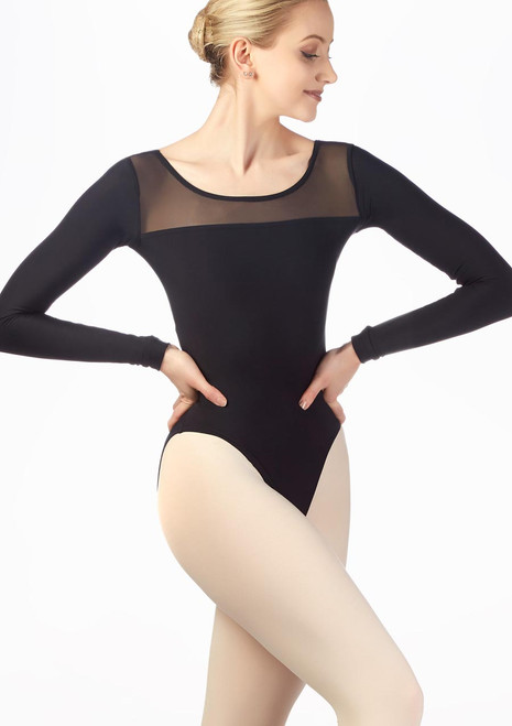 Grishko Stretch Mesh Long Sleeve Leotard Black front. [Black]