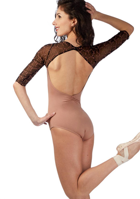 Ballet Rosa 3/4 Sleeve Open Back Leotard Brown back. [Brown]