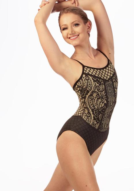 Ballet Rosa Camisole Shimmer Pattern Leotard Gold front. [Gold]