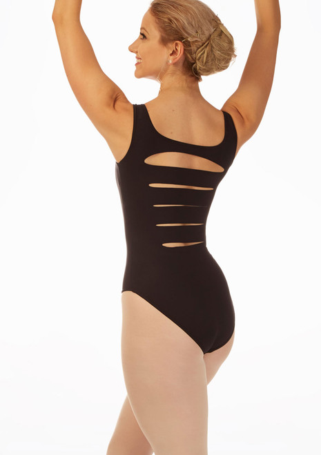 Grishko Slash Back Tank Leotard Black front. [Black]