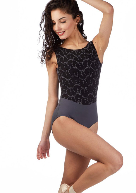 Ballet Rosa Open Back Embroidered Leotard Grey front. [Grey]