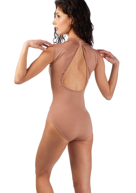Ballet Rosa Keyhole Turtleneck Leotard Brown back. [Brown]
