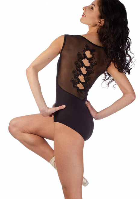 Ballet Rosa Embroidered Keyhole Leotard Black back. [Black]