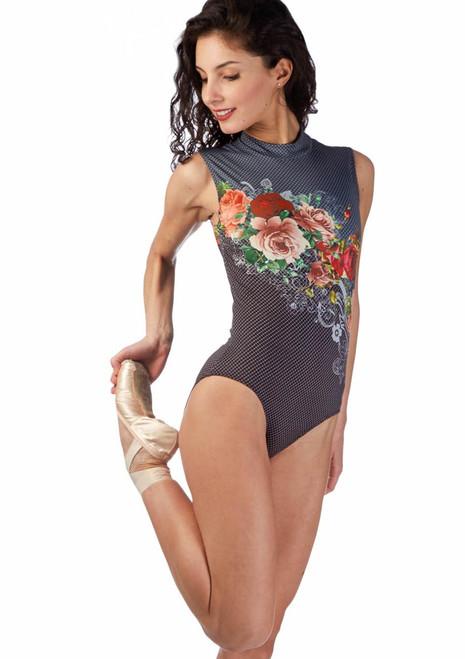 Ballet Rosa Floral Turtleneck Leotard Grey front. [Grey]