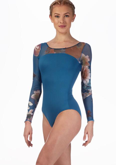 Ballet Rosa Floral Mesh Leotard Blue front. [Blue]
