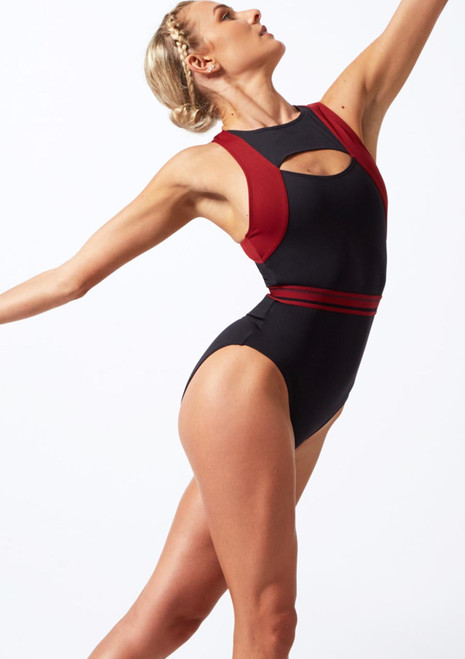 Move Dance Strength Cut Out Leotard Red back. [Red]