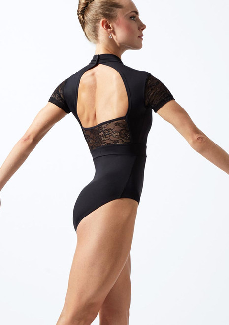 Move Dance Una Cap Sleeve Lace Leotard Black back. [Black]