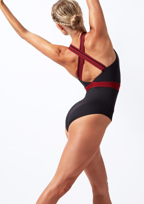 Move Dance Fearless Cross Back Leotard Black back. [Black]