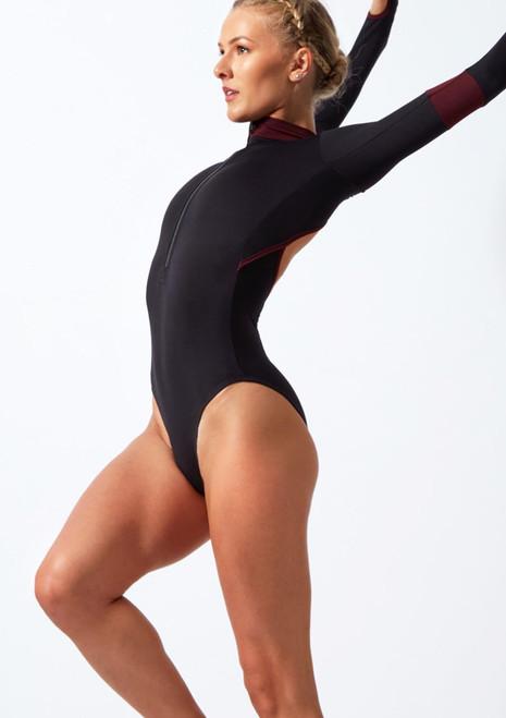 Move Dance Inspire Turtleneck Leotard Black front. [Black]
