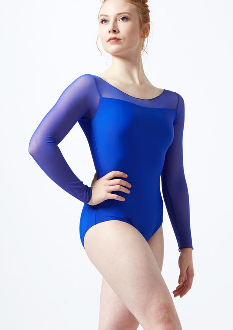 Ballet Rosa 3/4 Sleeve Stretch Mesh Leotard Blue colour swatch. [Blue]