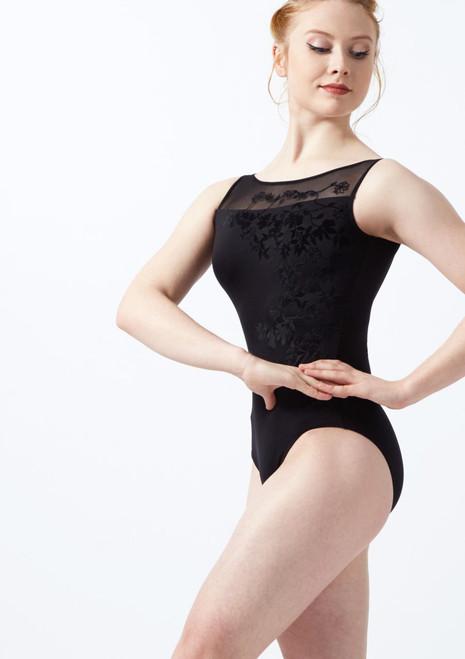 Ballet Rosa Flock Mesh Leotard Black front. [Black]