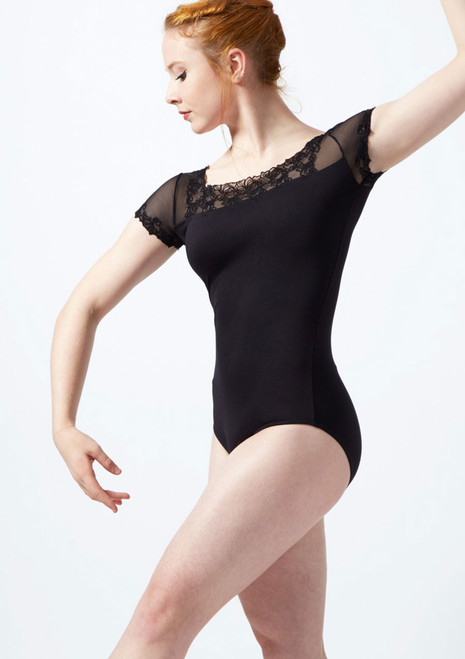 Ballet Rosa Scroll Embroidery Cap Sleeve Mesh Leotard Black front. [Black]