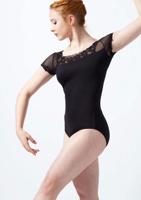 Ballet Rosa Scroll Embroidery Cap Sleeve Mesh Leotard Black front. [Black]
