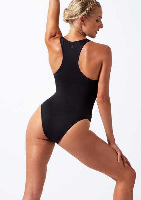 Move Dance Achieve Brazilian Leotard Black back. [Black]