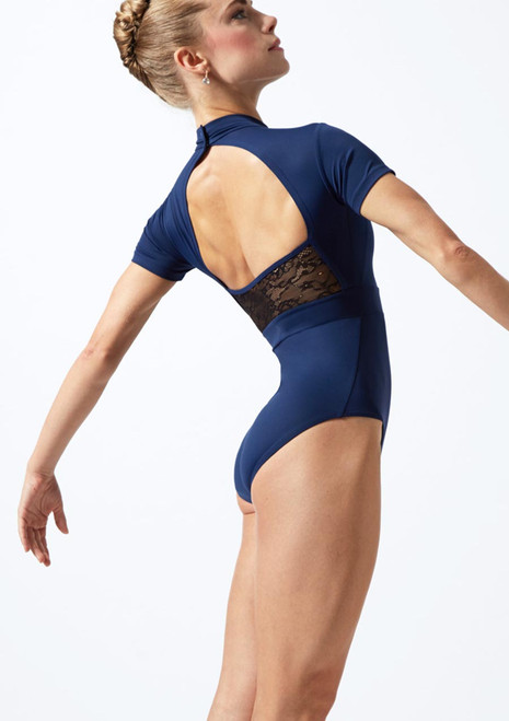 Move Dance Iona Cap Sleeve Lace Leotard Blue back. [Blue]