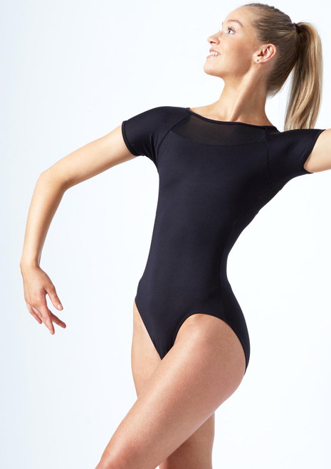 Move Dance Lyra Cap Sleeve Mesh Leotard Black front. [Black]