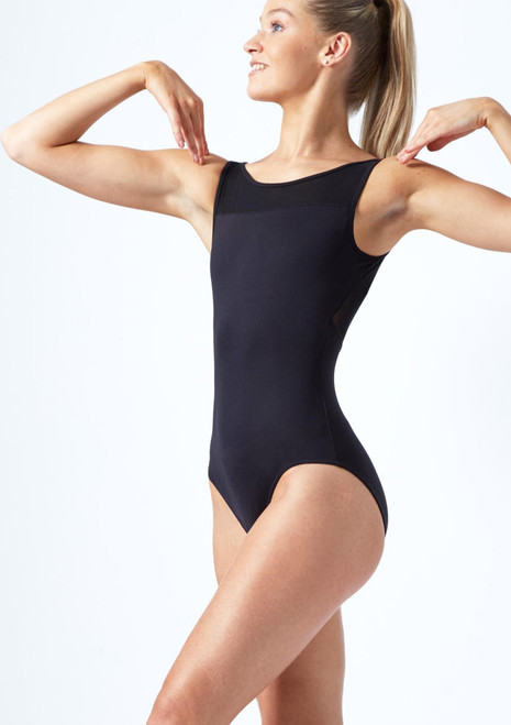 Move Dance Ana V Back Mesh Leotard Black front. [Black]