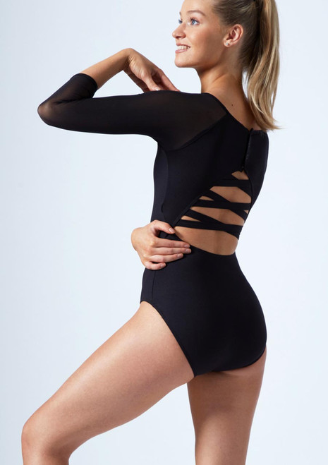 Move Dance Jet 3/4 Sleeve Mesh Leotard Black back. [Black]