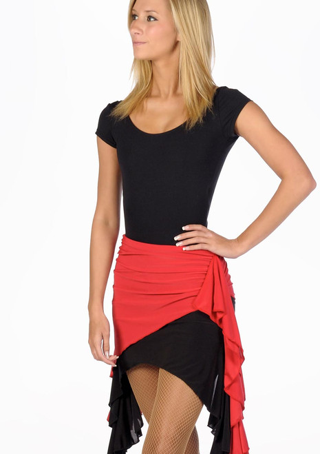 Move Ola Latin Skirt Black-Red. [Black-Red]