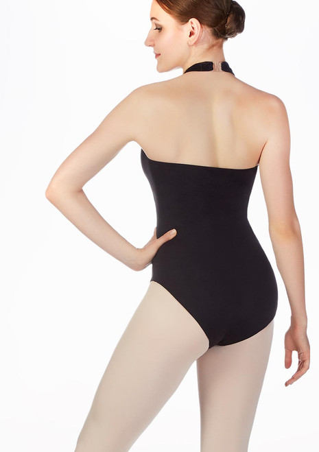 Move Zia Backless Turtleneck Leotard Black back. [Black]