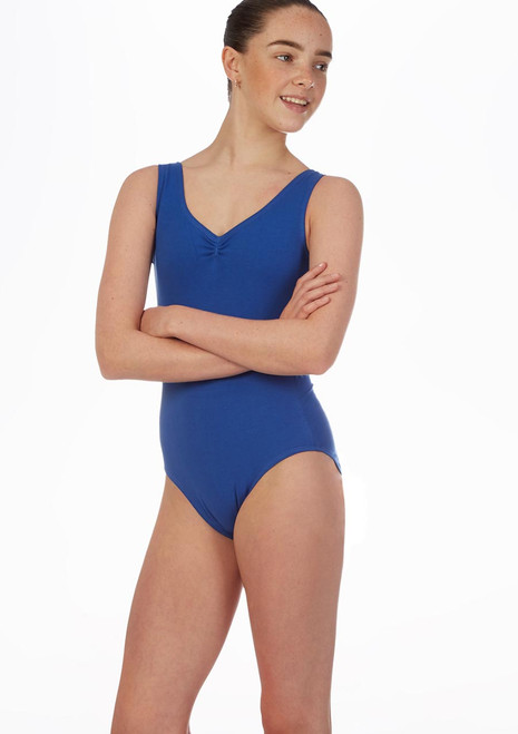 Move Lorette Teen Tank Leotard Blue front. [Blue]