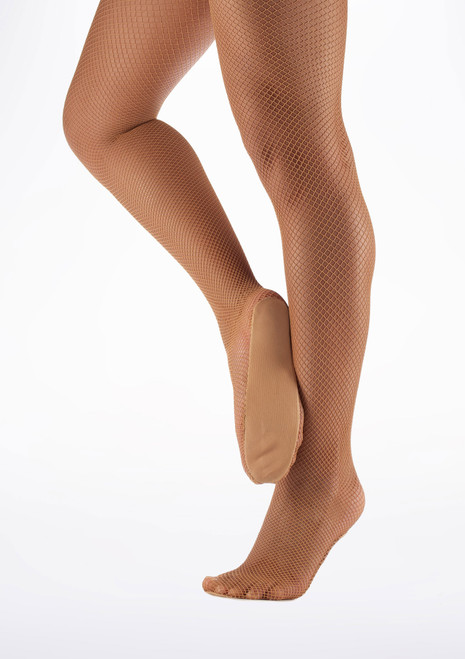 Move Professional Fishnet Dance Tights Tan side. [Tan]