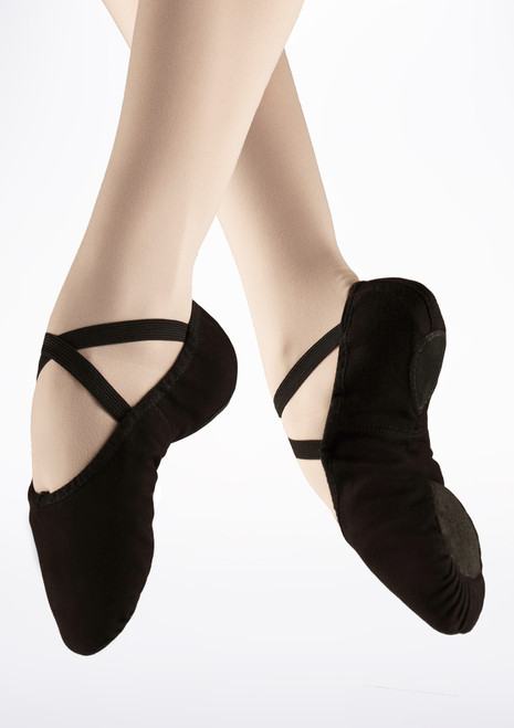 Capezio Pro Split Sole Canvas Ballet Shoe Black. [Black]