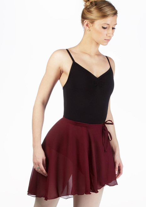 Capezio Full Sweep Wrap Skirt Red front. [Red]